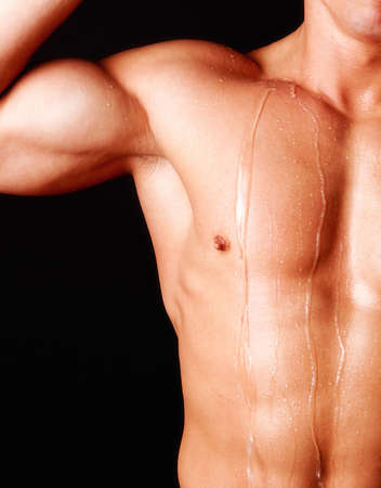 tricep: Picture of sweating athletic body Stock Photo