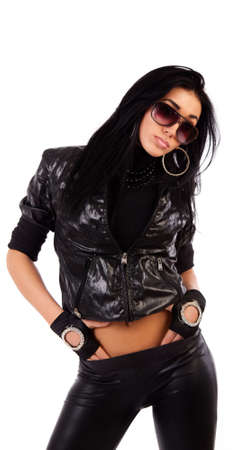 Portrait of sexy slim girl wearing sunglasses Stock Photo