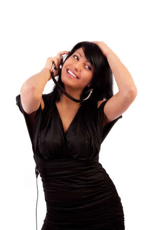 Adorable happy brunette listening music photo