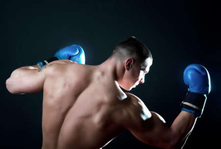 Picture of sportsman during boxing match Stock Photo