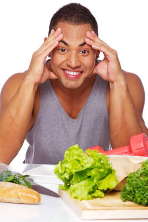 Portrait of healthy man posing in stduio with food Stock Photo - 17719565