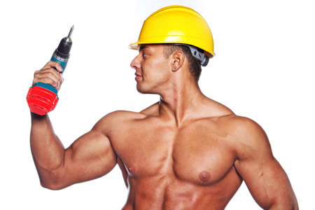 sexy image: Image of sexy worker with screwdriver and yellow hardhat Stock Photo