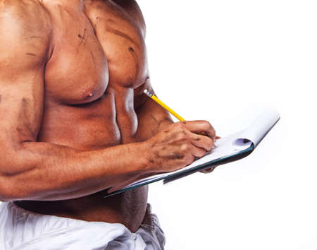 Close image of sexy worker with blank page photo