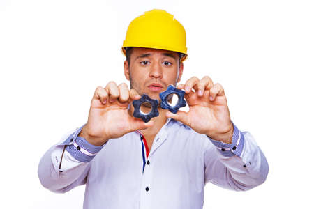 Portrait of worker posing in studio with screw Stock Photo - 17752889