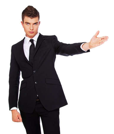 dandy: A photo of a young dandy in a black suit Stock Photo