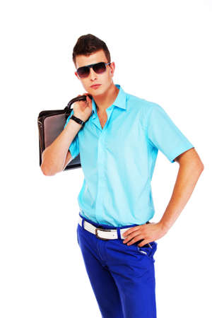 unworried: A cool looking man is ready to go Stock Photo