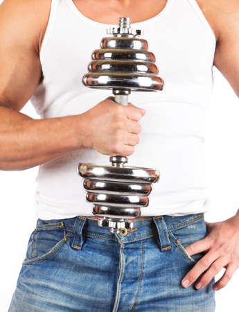 Fitness - powerful muscular man lifting weights Stock Photo - 18208226