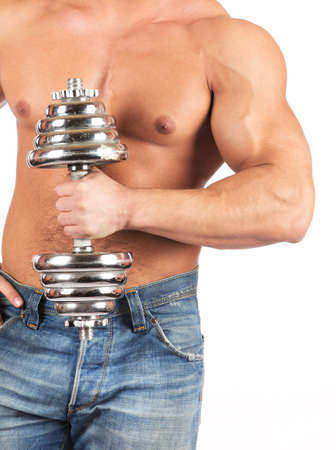 Fitness - powerful muscular man lifting weights Stock Photo - 18208075