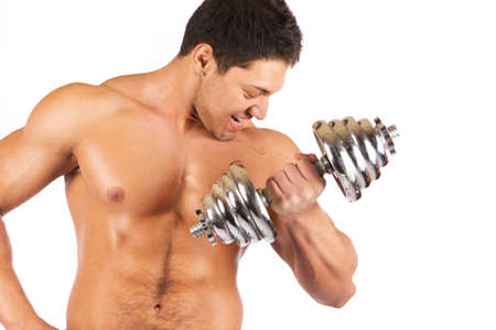 Fitness - powerful muscular man lifting weights Stock Photo - 18208465