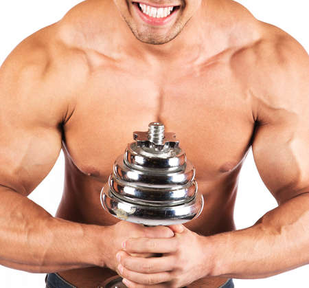 Fitness - powerful muscular man lifting weights Stock Photo - 18208222