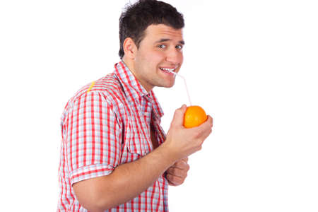 Happy  mature man drinking orange juice  photo