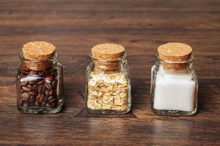 Jars of coffee, oats, and sugar photo