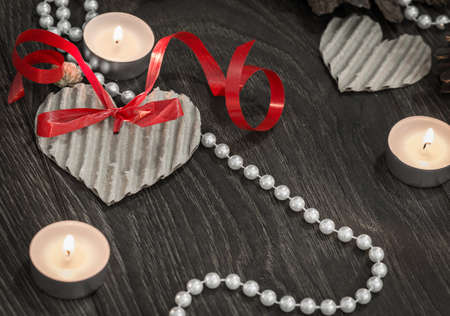 Valentines day setting with pearls photo