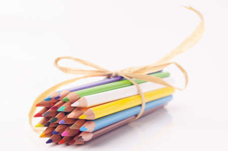 bowed: Bowed bunch of color pencils