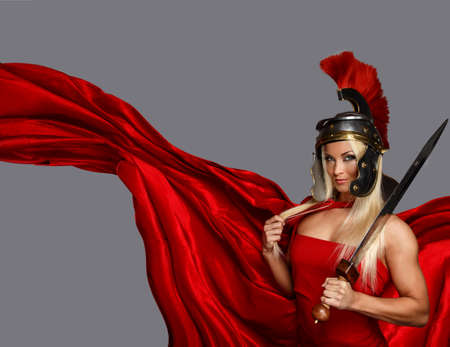 muscled: Muscled blonde in a centurion helmet