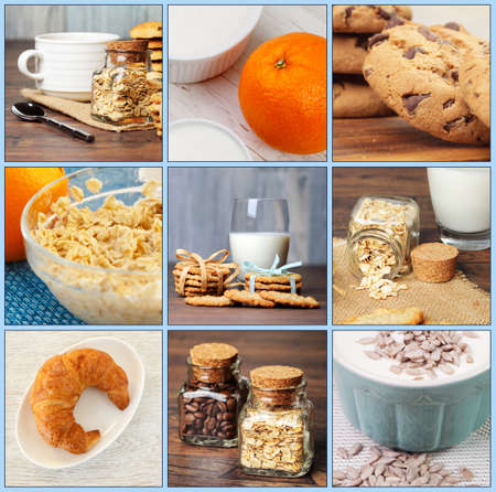 Nine different breakfast photos collage photo