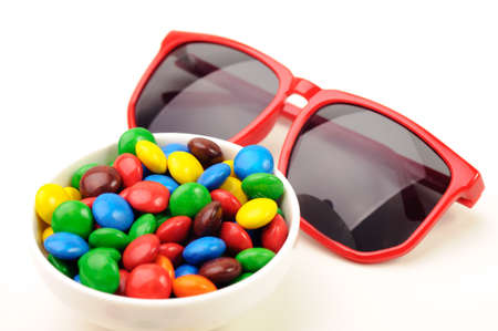 sweeties: Colorful sweeties and red sunglasses