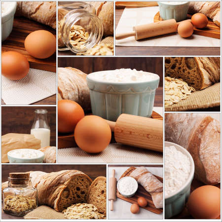 Ingredients needed for bread preparation photo