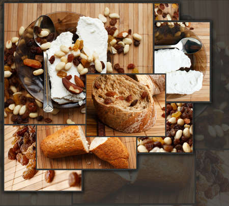 Organic bread with dried fruits and nuts photo