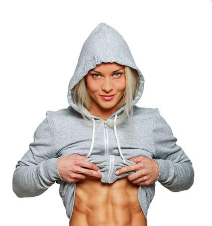 Afbeelding van zelfverzekerde vrouw met sportieve lichaam Stockfoto