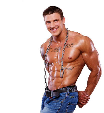 Portrait of muscle man posing Stock Photo
