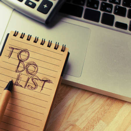 todo: A to-do list and a laptop