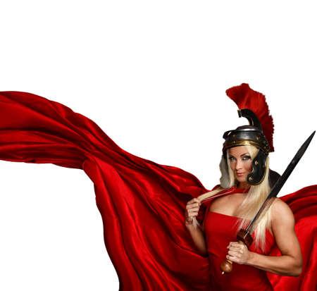 Gespierd blonde in een centurion helm