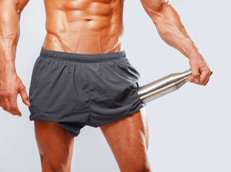beefcake: Mans muscular trunk with separated abs