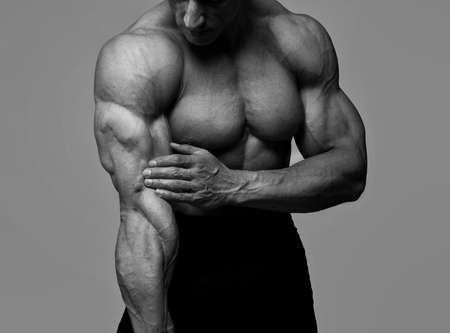 os: Portrait os bodybuilder on competitions Stock Photo