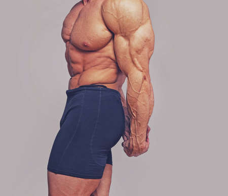 Portrait of bodybuilder posing in studio photo