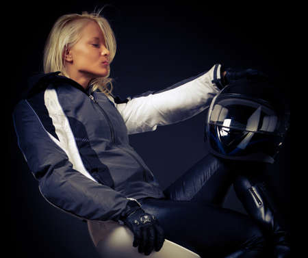 Close image of motorcyclist photo