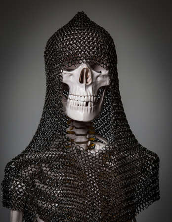 Skeleton of the dead warrior in chain armour photo