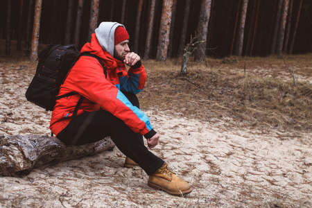 respite: Hiker have short respite on his way in the forest