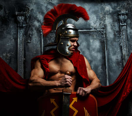 praetorian: Roman warrior with muscular body holding sword and shield