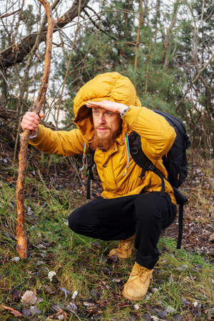 yellow jacket: Man with beard in yellow jacket, black pants, yellow boots with black backpack and stick sitting in a forest and looks in a distance. Stock Photo