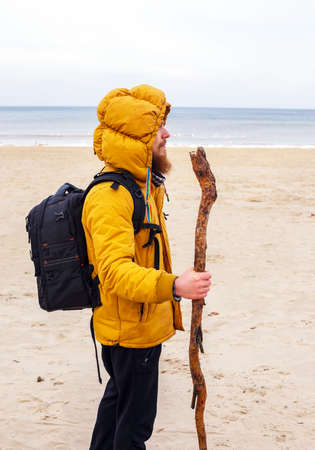 yellow jacket: Man dressed in yellow jacket and black pants, with backpack, stands on the winter beach and hold stick.