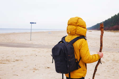 yellow jacket: Man from behind dressed in yellow jacket with black backpack, hold stich, stands on the winter beach.
