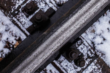 split rail: Industrial photo of railway tracks background. Stock Photo