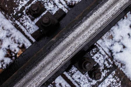 split rail: Industrial photo of railway tracks background. Stock Photo