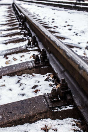 bullhead: Industrial photo of railway tracks background. Stock Photo