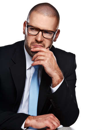 glases: Business man with glases at the table isolated white