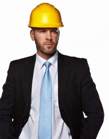 hard hat: Male in a suit with hard hat isolated on white