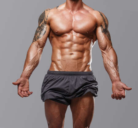 Body of muscular male with great physique