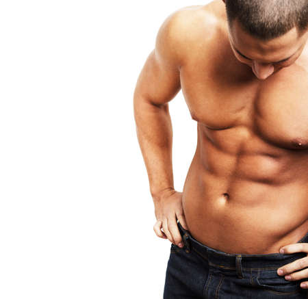 sixpack: Shirtless muscular male body on white background Stock Photo