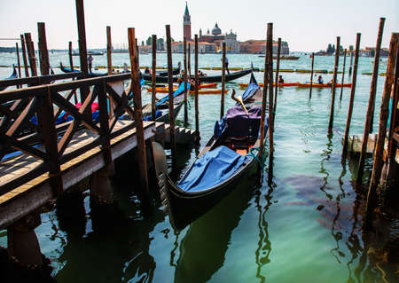 Beautiful view with boat in Venice photo