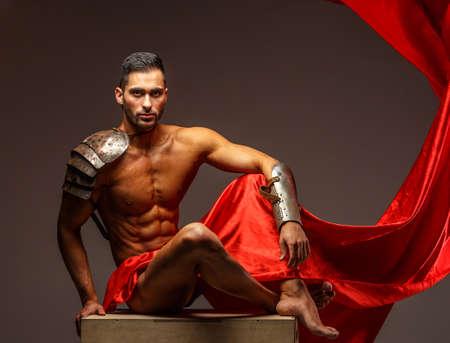 creating: Working process in photo studio. Creating image of rome warrior Stock Photo