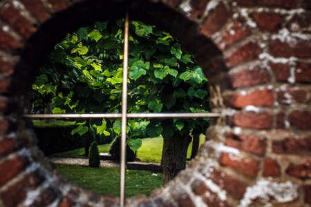 round window: Landscape through round window on brickwall