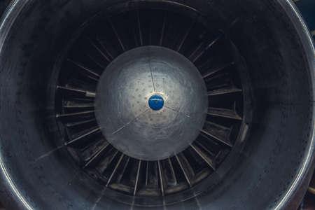 Jet engine turbine airplane.