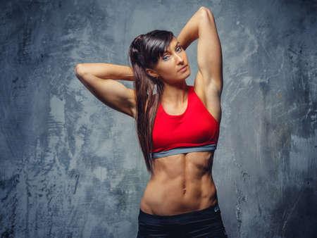 健身: 健身女子運動服。
