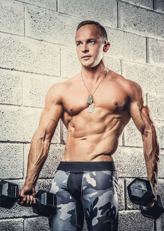 Shirtless muscular man in military pants holding dumbbells over wall from grey bricks. Stock Photo